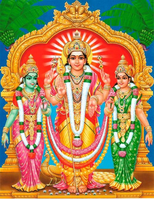 Murugan-and-His-Two-Wives-valli-and-Devasena